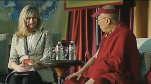 Monica talking with His Holiness the Dalai Lama 2.24.14